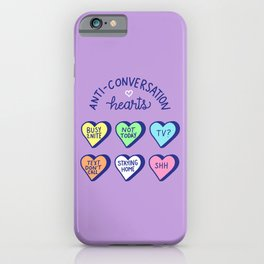 Anti-Conversation Hearts (pastel) iPhone Case