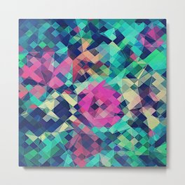 Fruity Rose - Fancy Colorful Abstraction Pattern Design (green pink blue) Metal Print