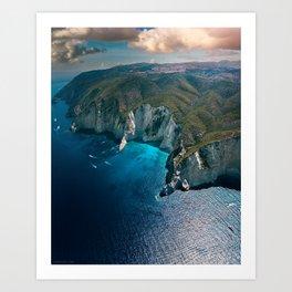 Earth's footprint (Coastline of Greece) Art Print