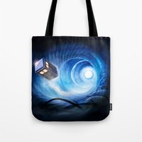 doctor who Tote Bags featuring Doctor Who by Joe Roberts