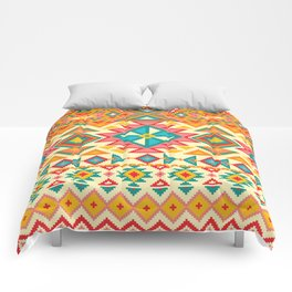 Colorful Native Pattern in Yellow, Turquoise, Orange and Red Comforters