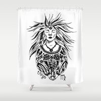 virgo Shower Curtains featuring Virgo by Anna Shell
