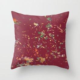 Cranberry Red Bohemian Fiber Art Throw Pillow