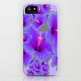 LILAC PURPLE-GREY HIBISCUS  MODERN  ART iPhone Case