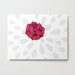 Red Roses And Petals Metal Print