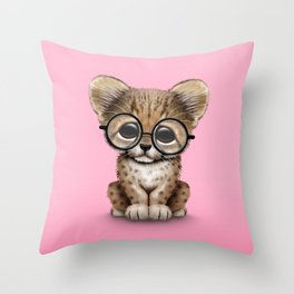 Cute Cheetah Cub Wearing Glasses on Pink Throw Pillow
