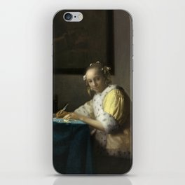 A Lady Writing Oil Painting by Johannes Vermeer iPhone Skin
