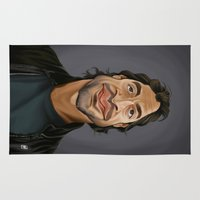 celebrity Area & Throw Rugs featuring Celebrity Sunday ~ Javier Bardem by rob art | illustration