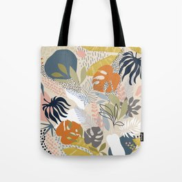 Tropical Foliage Pattern 1 - Retro Boho Tote Bag