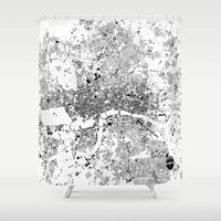 london Shower Curtains featuring LONDON by Maps Factory