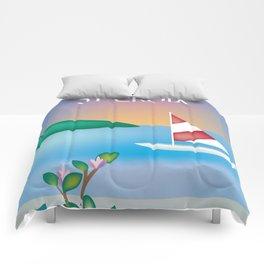 St. Croix, Virgin Islands- Skyline Illustration by Loose Petal Comforters