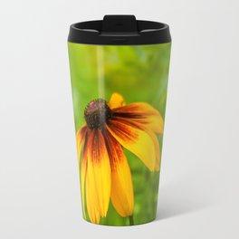 Yellow Flower Green Background Travel Mug