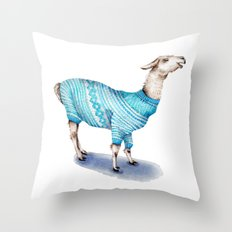Llama in a Blue Sweater Throw Pillow