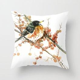 American Robin And Berries, orange bird art Throw Pillow