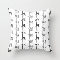 giraffes Throw Pillows featuring Giraffes by Madeleine Groves