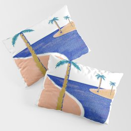 Palm Print Beach Day Pillow Sham