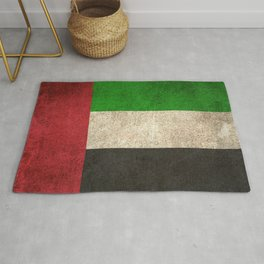 Old and Worn Distressed Vintage Flag of United Arab Emirates Rug