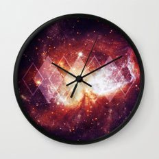 Shining Nebula - Red Wall Clock