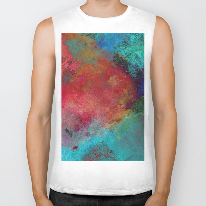 Love - Abstract, textured painting Biker Tank