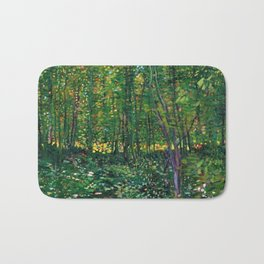 Brush and Underbrush flower and forest landscape by Vincent van Gogh Bath Mat