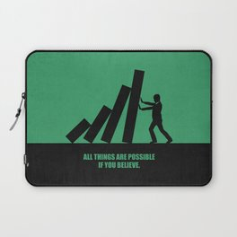 Lab No. 4 - All Things Are Possible If You Believe Corporate Start-Up Quotes poster Laptop Sleeve