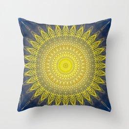 Bright Gold Navy Bohemian Mandala Throw Pillow