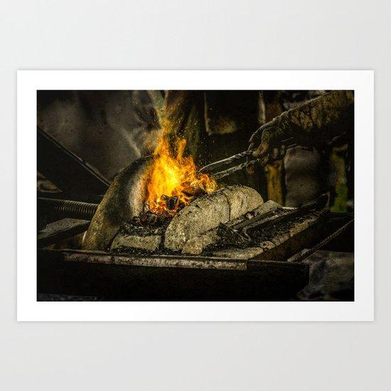 Hot working Art Print