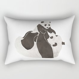 Mother and baby panda playing Rectangular Pillow