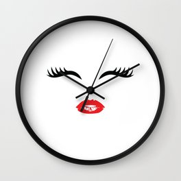 1Feminine Tee For Girls With A Nice Illustration Of A Lips And Lashes T-shirt Design Mouth Lipstick Wall Clock