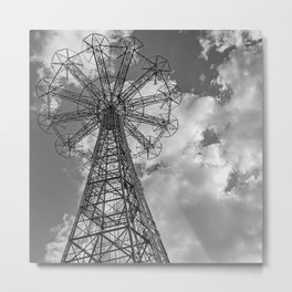 Coney Island Parachute Jump. Black and white photography Metal Print