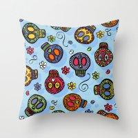 sugar skulls Throw Pillows featuring Sugar Skulls by Kara Peters