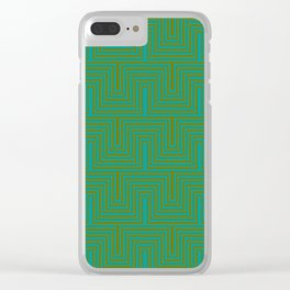 Doors & corners op art pattern in olive green and aqua blue Clear iPhone Case