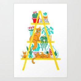 Cat Shelf Art Print