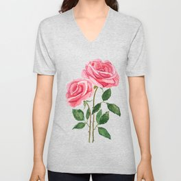 two pink roses watercolor Unisex V-Neck
