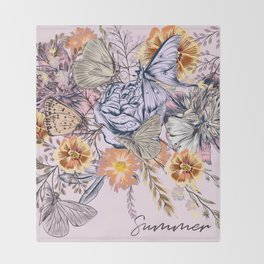 Rose  vintage styled illustration with leafs, butterflies and flowers Throw Blanket
