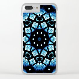 Blue Black Mosaic Kaleidoscope Mandala Clear iPhone Case