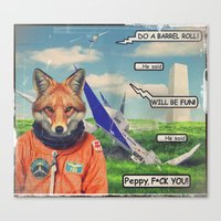 starfox Canvas Prints featuring Starfox - F*CK YOU PEPPY! by John Medbury (LAZY J Studios)