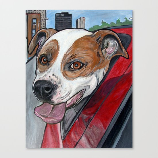 Pit Bull Joy Ride Canvas Print