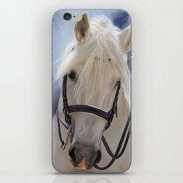 Painted White Horse head iPhone Skin