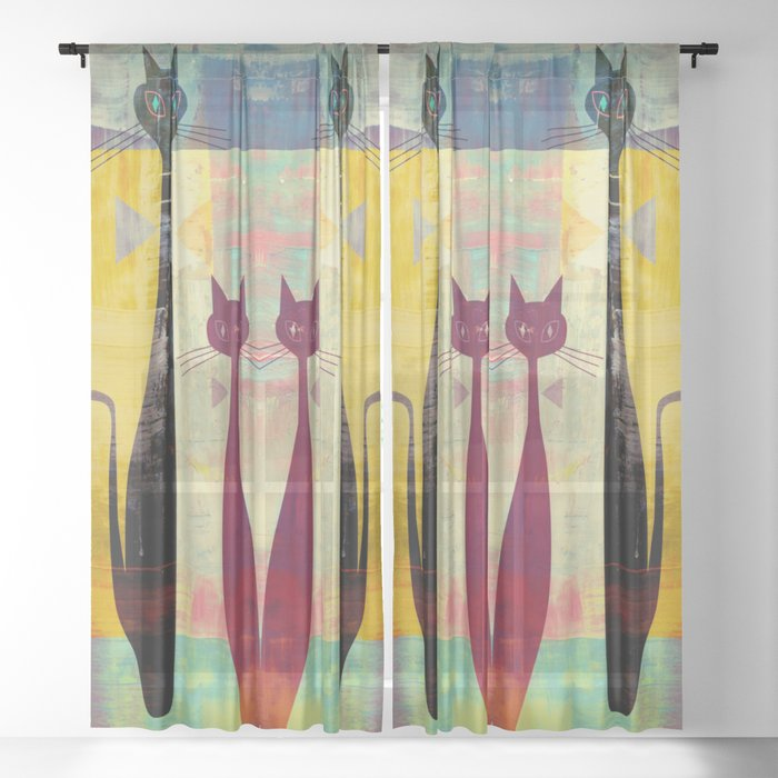Mid-Century Modern Art 4 Cats - Graffiti Style Sheer Curtain