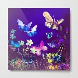 Night Butterflies Metal Print