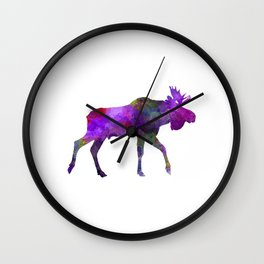 Moose 01 in watercolor Wall Clock