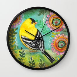 Goldfinch by Robynne Wall Clock