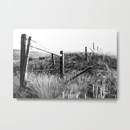 Black and White Fence Metal Print