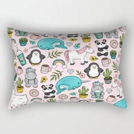 Llama and Friends, Tween Print, Narwhal, Panda,Unicorns, Penguins, Emoji Art Print Rectangular Pillow