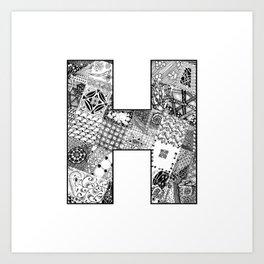 Cutout Letter H Art Print