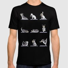 Miniature Schnauzer yoga SMALL Black Mens Fitted Tee