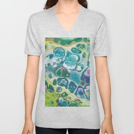 Fluid Nature - Living Cells - Abstract Acrylic Pour Art Unisex V-Neck