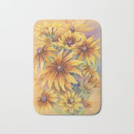 Rudbeckia Bouquet of yellow autumn flowers Floral pastel drawing Still life Bath Mat