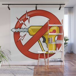 """Funny Red Circle Sticker: """"Stop Drilling!"""" Wall Mural"""